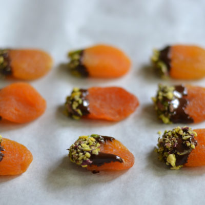 Pistachio Chocolate-Dipped Apricots